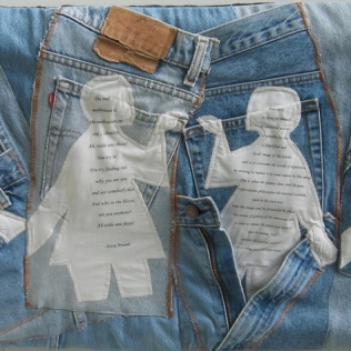 'Everybody's Wearing Blue Jeans',2009, Recycled Denim Jeans, Inkjet print on cotton, applique, machine stitched.